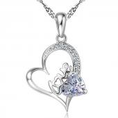 Gümüş Love Yazılı Zirkon Taşlı Kalp Bayan Gümüş...
