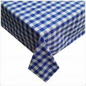 Zeren Home Kareli Mutfak Masa Örtüsü Mavi 150cm x 150cm