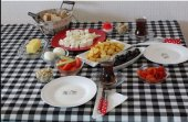 Zeren Home Kareli Mutfak Masa Örtüsü Siyah 140cm x 140cm-3
