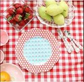 Zeren Home Kareli Mutfak Masa Örtüsü Kırmızı 130cm x 160cm-3
