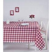 Zeren Home Kareli Mutfak Masa Örtüsü Kırmızı 160cm X 400cm