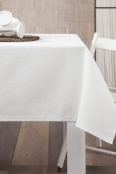 Zeren Home Dertsiz Düz Mutfak Masa Örtüsü Beyaz 140cm X 140cm