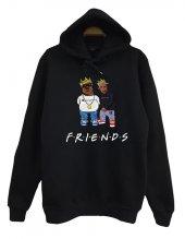 Friends Biggie Tupac Baskılı Kapüşonlu Sweatshirt
