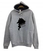 Sherlock Holmes Baskılı Kapüşonlu Sweatshirt
