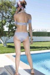 Angelsin Çizgili Şık Straplez Bikini Takım-10