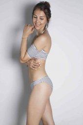 Angelsin Çizgili Şık Straplez Bikini Takım-12