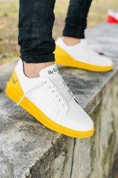 2020 Özel Tasarım Ortopedik Erkek Beyaz Sarı Spor Ayakkabı