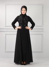Güpür Dantelli Tesettür Elbise Siyah