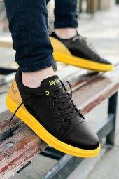 2020 Özel Tasarım Ortopedik Erkek Siyah Sarı Spor Ayakkabı