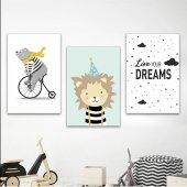 çocuk Odası Live Your Dreams 3lü Ahşap Ahşap Poster Mdf Tablo