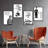 Coffee & Charlie Chaplin 4lü Ahşap Ahşap Poster Mdf Tablo