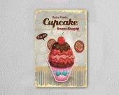 Mutfak Cupcake Ahşap Poster Mdf Tablo