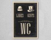 Wc Ladies Gents Ahşap Poster Mdf Tablo