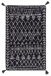 Caretta Home 160x230 Siyah Beyaz Ponponlu Mistik Dokuma Kilim-3