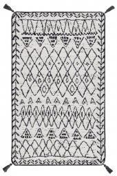 Caretta Home 160x230 Siyah Beyaz Ponponlu Mistik Dokuma Kilim-4