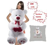 özgüner 100 Cm Bobo Beyaz Peluş Ayı Tavşan Yastık Hediyeli