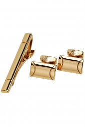 Altın Renk Kol Düğmesi ve Kravat İğnesi KD1137