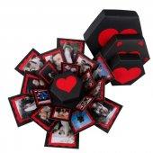 Patlayan Aşk Kutusu Altıgen Kalpli İçiçe 4lü Kutu