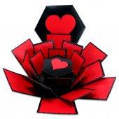 Patlayan Aşk Kutusu Altıgen Kalpli İçiçe 4lü Kutu-2