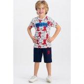 Spider Man Lisanslı Krem Erkek Çocuk Bermuda Takım