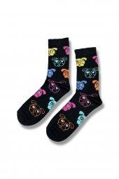 Renkli Köpek Desenli Unısex Çorap