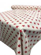 Zeren Home Beyaz Zemin Kırmızı Yıldızlar Dertsiz Mutfak Masa Örtüsü 160cm X 300cm