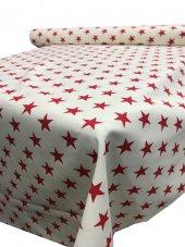 Zeren Home Beyaz Zemin Kırmızı Yıldızlar Dertsiz Mutfak Masa Örtüsü 160cm x 250cm-2