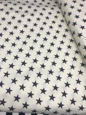 Zeren Home Beyaz Zemin Siyah Yıldızlar Dertsiz Mutfak Masa Örtüsü 140cm X 260cm