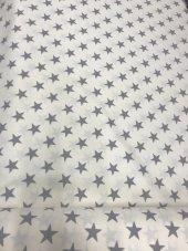 Zeren Home Beyaz Zemin Gri Yıldızlar Dertsiz Mutfak Masa Örtüsü 140cm X 160cm