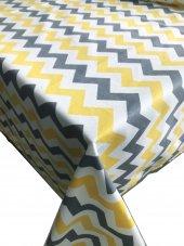 Zeren Home Sarı Beyaz Gri Zigzag Dertsiz Mutfak Masa Örtüsü 150cm X 200cm