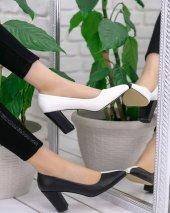 Dena Beyaz Siyah Topuklu Ayakkabı-3