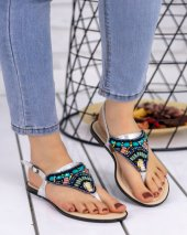Piperi Gümüş Cilt Boncuklu Sandalet