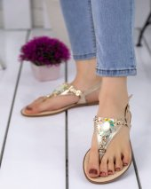 Piperi Gold Boncuklu Sandalet