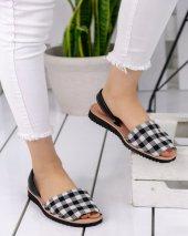 Samiye Siyah Beyaz Ekose Sandalet
