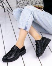 Abbie Siyah Cilt Oxford Ayakkabı