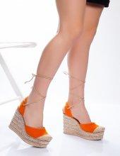 Jolenx Turuncu Hasır Detaylı Sandalet