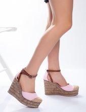 Jolena Pudra Hasır Detaylı Sandalet