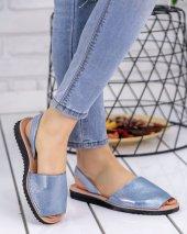 Samiye Mavi Cilt Desenli Sandalet