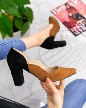 Silver Taba Süet Siyah Detaylı Topuklu Ayakkabı...