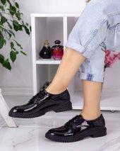 Abbie Siyah Rugan Bağcıklı Oxford Ayakkabı