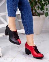 Karina Siyah Kırmızı Cilt Topuklu Ayakkabı