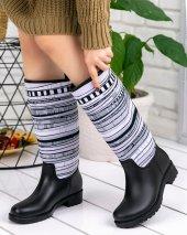 Rainy Siyah Beyaz Desenli Yağmur Çizmesi