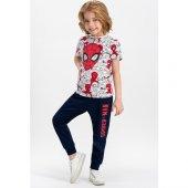 Spider Man Lisanslı Krem-Lacivert Erkek Çocuk Pijama Takımı