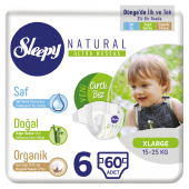 Sleepy Natural Bebek Bezi 6 Numara Xlarge 60 Adetli Paket