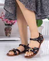 Angelia Siyah Boncuklu Sandalet