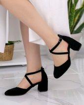 Persis Siyah Süet Topuklu Ayakkabı