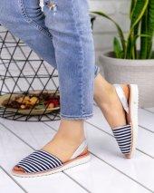 Samiye Lacivert Beyaz Çizgili Sandalet