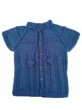 El Yapımı Erkek Çocuk Kışlık Yelek Mavi Renk...