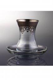 Paşabahçe Ottoman 6 Kişilik Dekorlu Çay Bardağı Takımı Platin