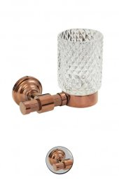 Maya Line PVD Rose Montajlı Diş Fırçalık Buzlu Cam 100 Pirinç